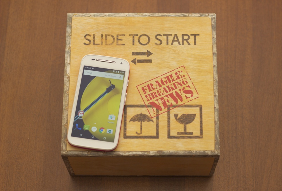 "Cute, guys: Motorola sent over a Moto E inside a ""press conference in a box."""