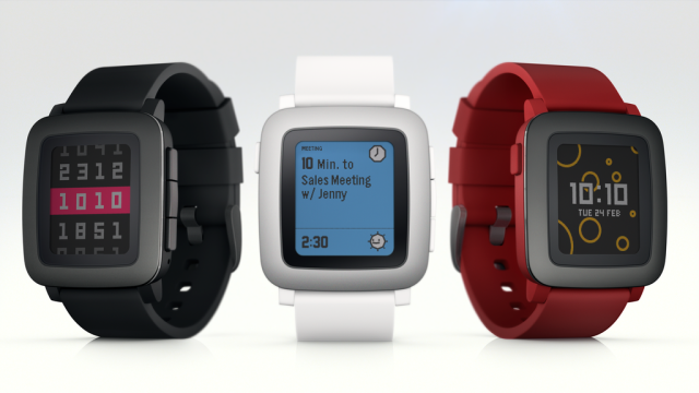 The three colors of Pebble Time.