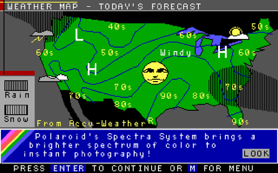 Weather report on Prodigy, circa 1988.