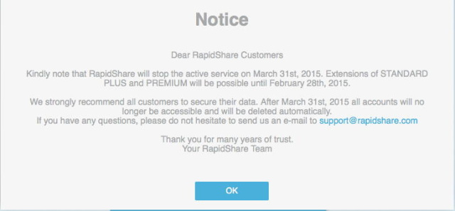 RapidShare calls it quits: Veteran file-sharing site to close in March 2015