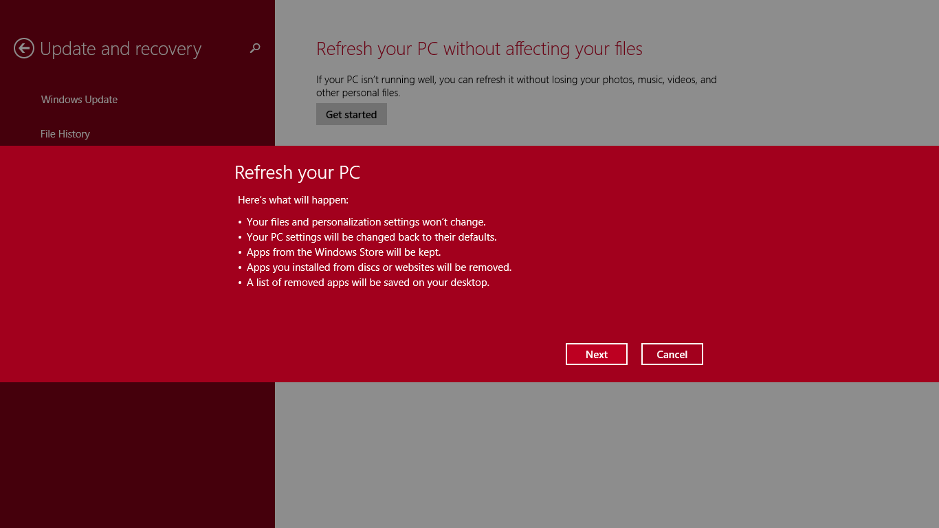 Windows 8's Refresh feature makes it easy for even the computer illiterate to return their PC to a pristine state without data loss.