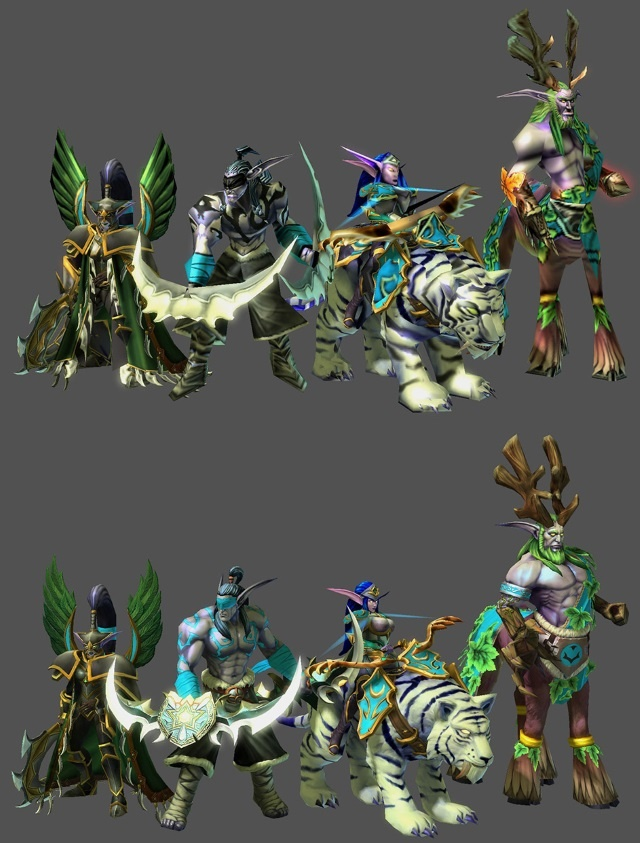 Some of the <i>Warcraft III</i> models now officially available to <i>Starcraft II</i> modders