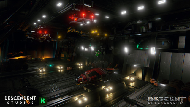 Concept art for the drone bay, the place where your Internet spaceships will live in <em>Descent Underground</em>.