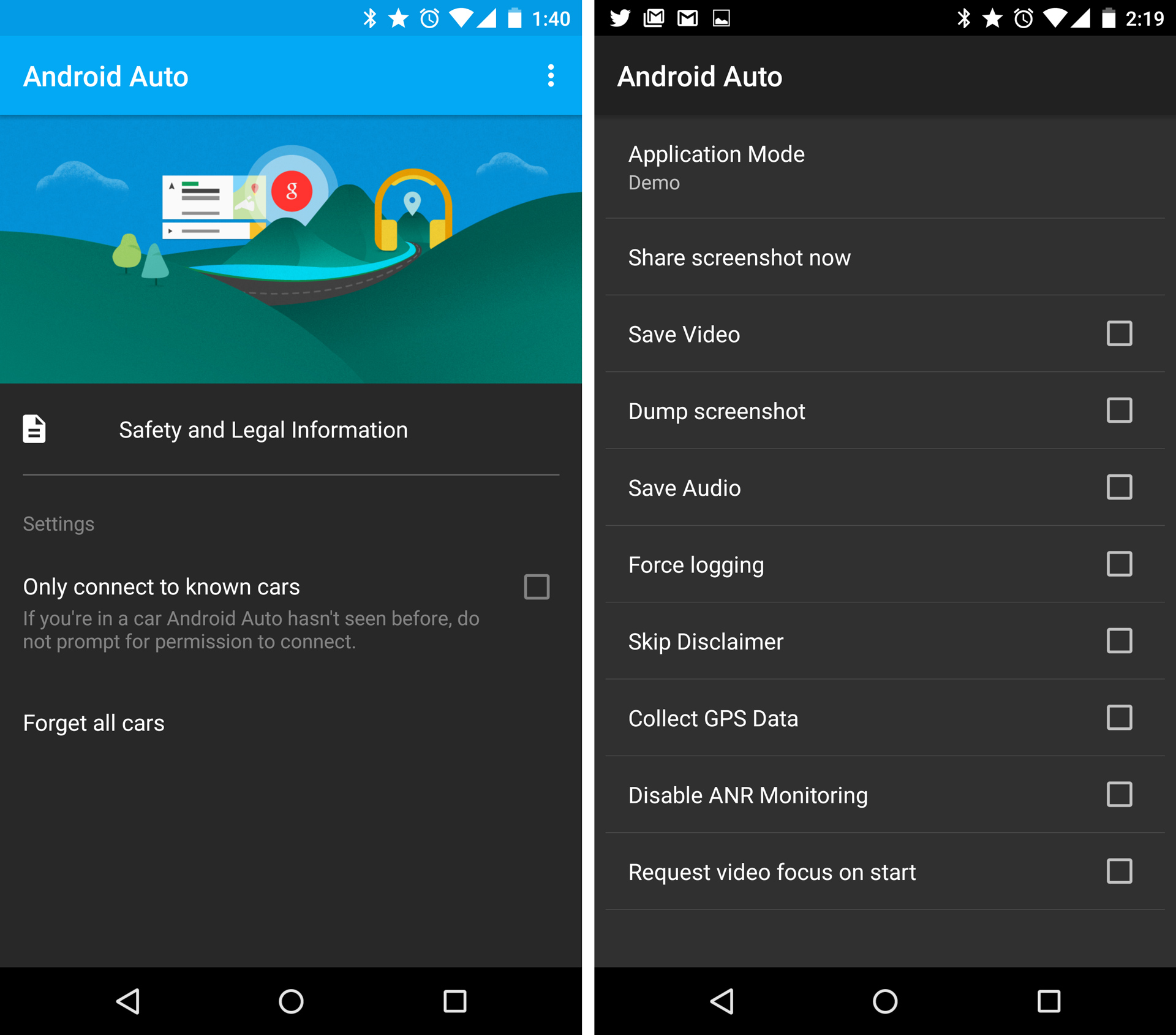 Left: The Android Auto app. Right: The developer menu.