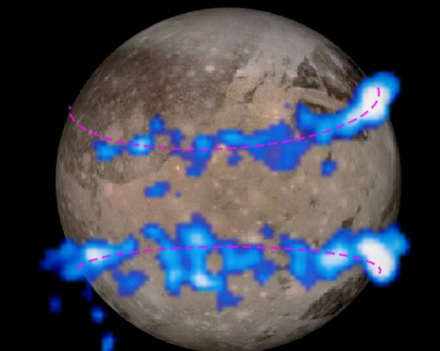 The aurora of Ganymede as imaged by Hubble, superimposed over an image of the moon.
