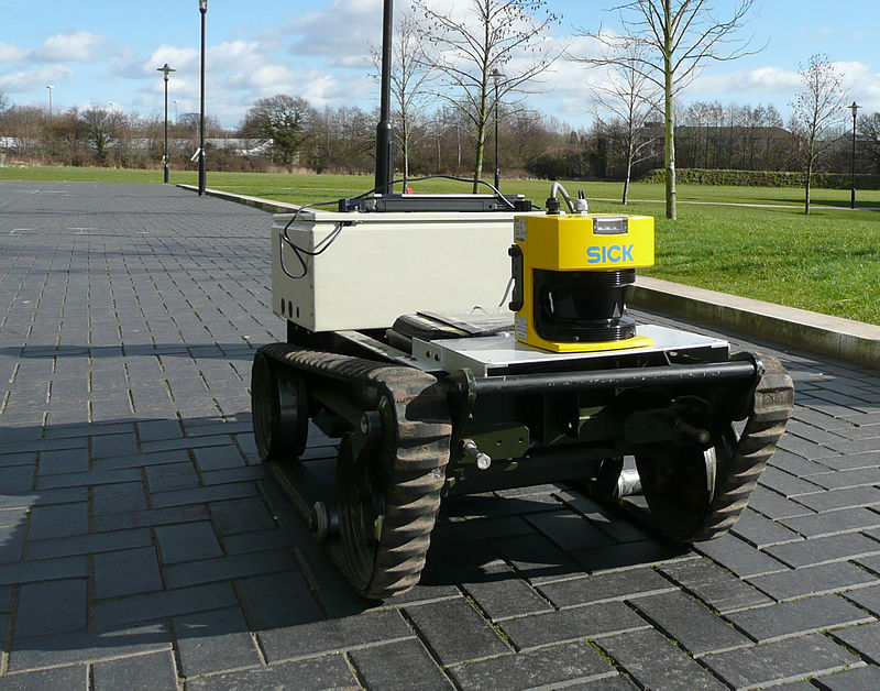 A robot using LIDAR to map its surroundings. Connected to the cloud, this map could be shared with other robots.