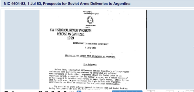 "A declassified CIA document entitled ""Prospects for Soviet Arms Deliveries to Argentina,"" one of thousands of declassified documents the National Archives is hoping you'll convert to text for them."