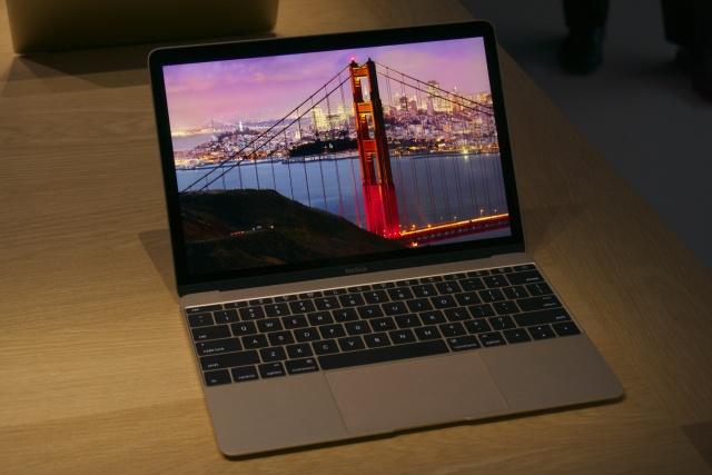 The Retina MacBook in gold.