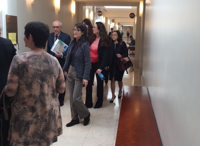Ellen Pao followed by her lawyers in SF Superior Court.