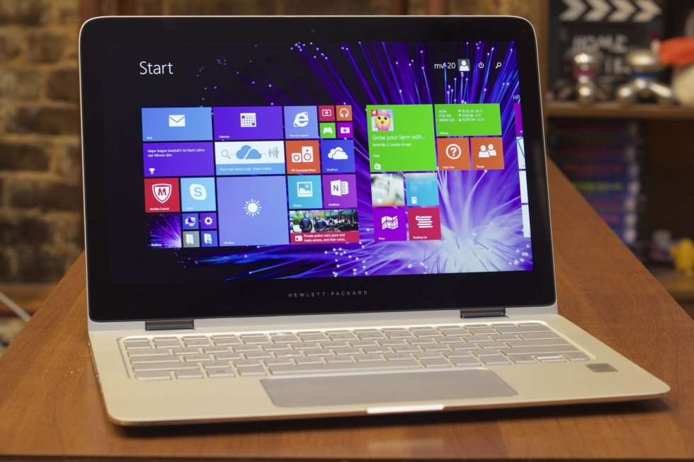 HP's Spectre x360 in laptop mode, where it's going to spend most of its time. It has larger bezels than the XPS 13, but they're within a normal range.