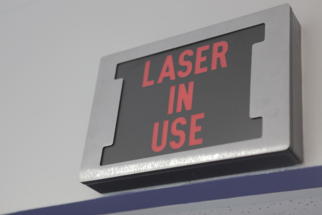 The GE Energy controls lab in Niskayuna used to be the home of some laser gear. They kept the sign (presumably to scare off visitors).