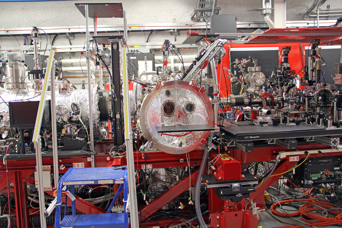 One of the experiment rooms that receives X-ray pulses from the SLAC free electron laser.