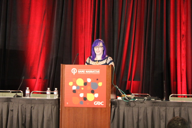 Zoe Quinn speaks at the 2015 Game Developers Conference in San Francisco.
