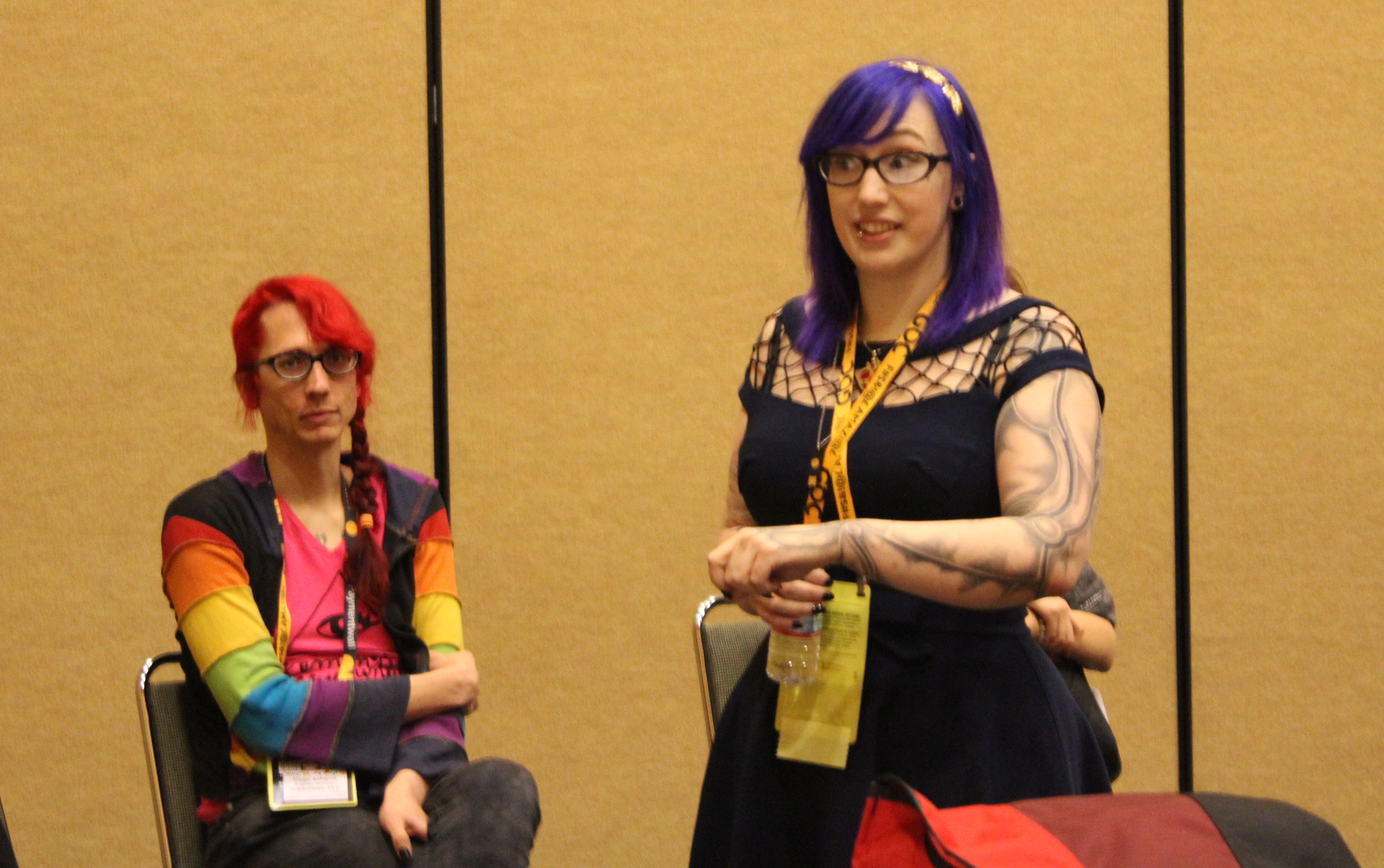 Zoe Quinn speaking at a roundtable panel during the Game Developers Conference 2015.