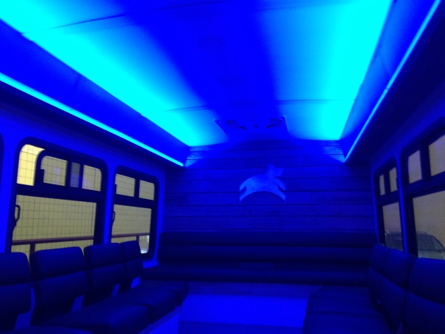 This is the back of a Leap bus, when bathed in cool blue lighting.