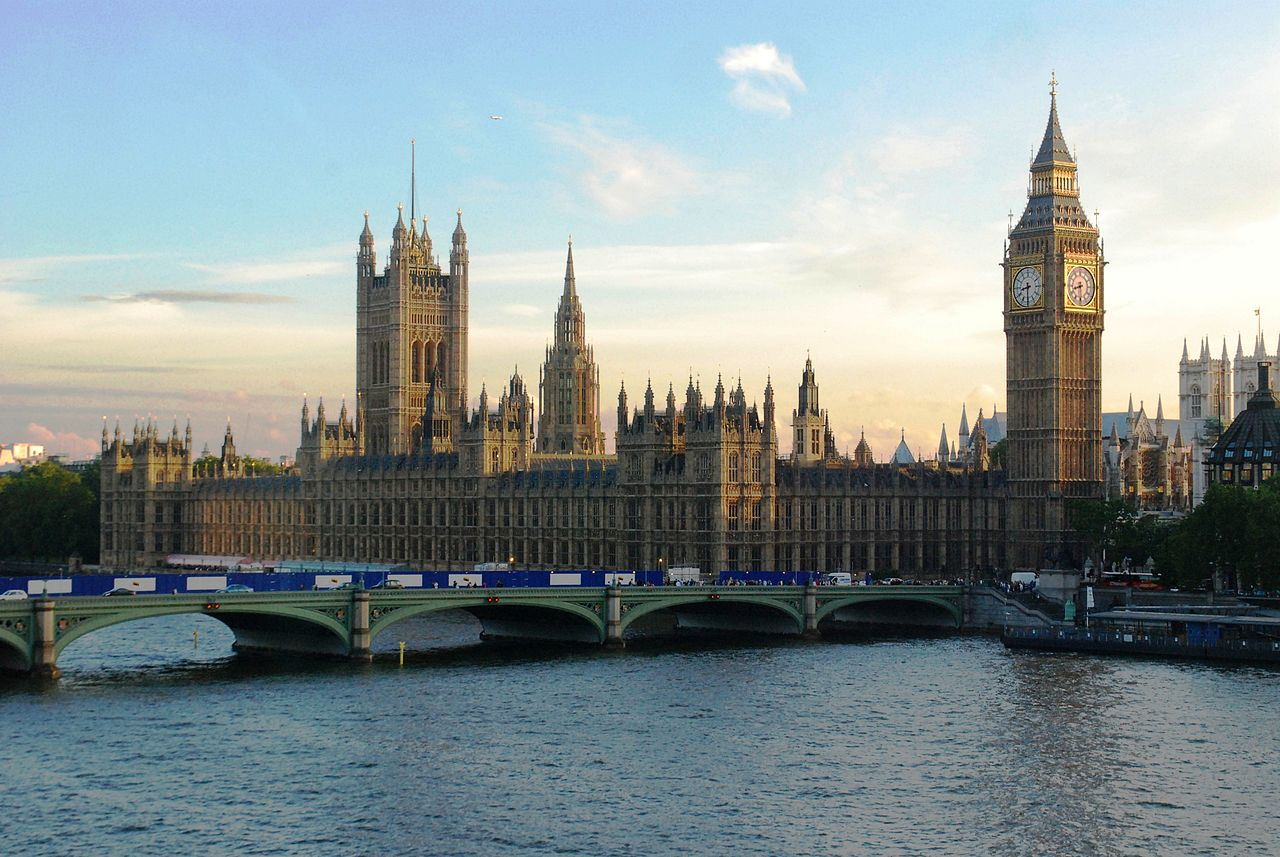 The Palace of Westminster, where the UK Houses of Parliament are located.