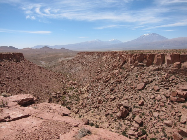 One of the Andean canyons that have been shaped by strong winds.