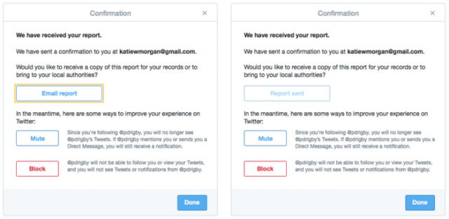 Twitter's new abuse-report process allows users to receive an e-mail copy of their reports.