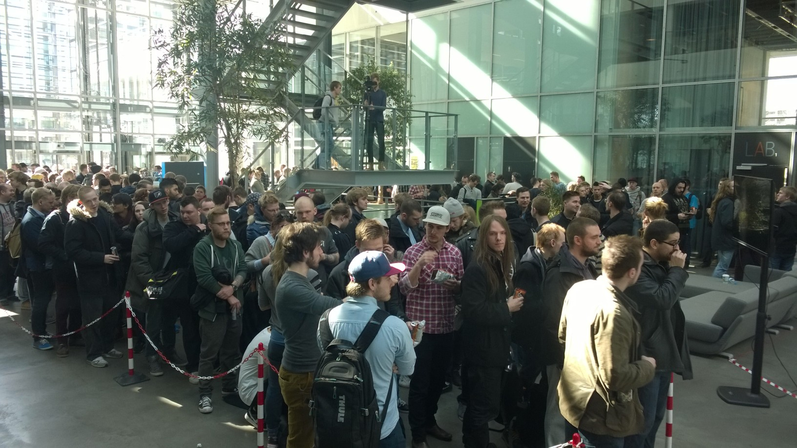 A rather long queue at the Bloodborne blood drive event, at IT University in Copenhagen.