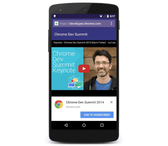 "Chrome for Android to push Web app adoption with ""Add to home screen"" popup"