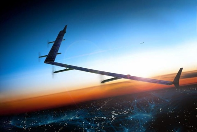 A Facebook rendering of the Aquila solar-powered drone.