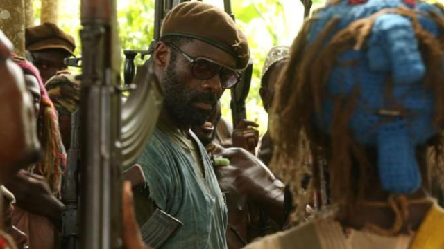 "Idris Elba as an African warlord in ""Beasts of No Nation."""