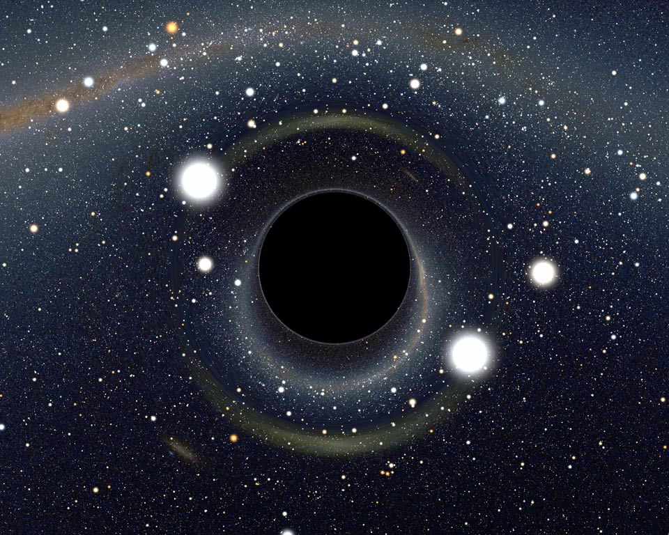 The event horizon, where Hawking radiation is generated, is simulated by a computer.
