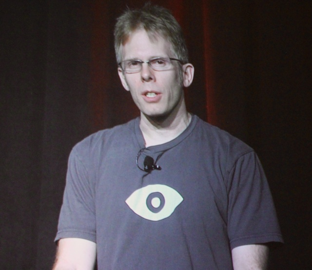 Oculus CTO John Carmack speaks at the Game Developers Conference.