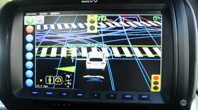 This is Delphi's driving interface depicting the view of its self-driving car. Blue lines are map information, dots are points spotted by LiDAR, Xes are points spotted by radar. Crosswalks turn green when no pedestrians are in them.