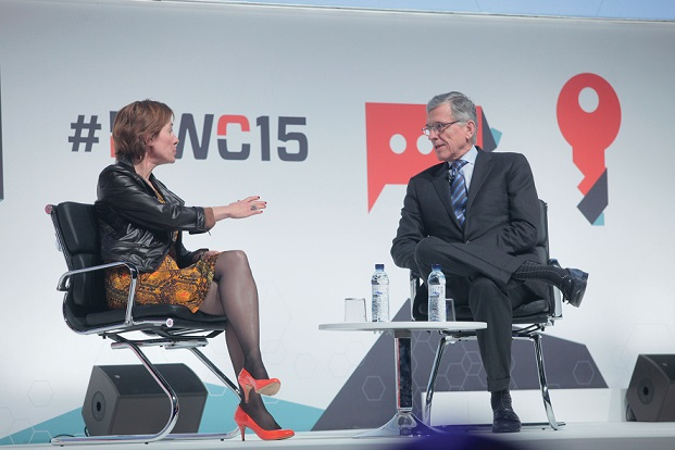 FCC Chairman Tom Wheeler speaks at Mobile World Congress with Anne Bouverot, director general of the GSMA.