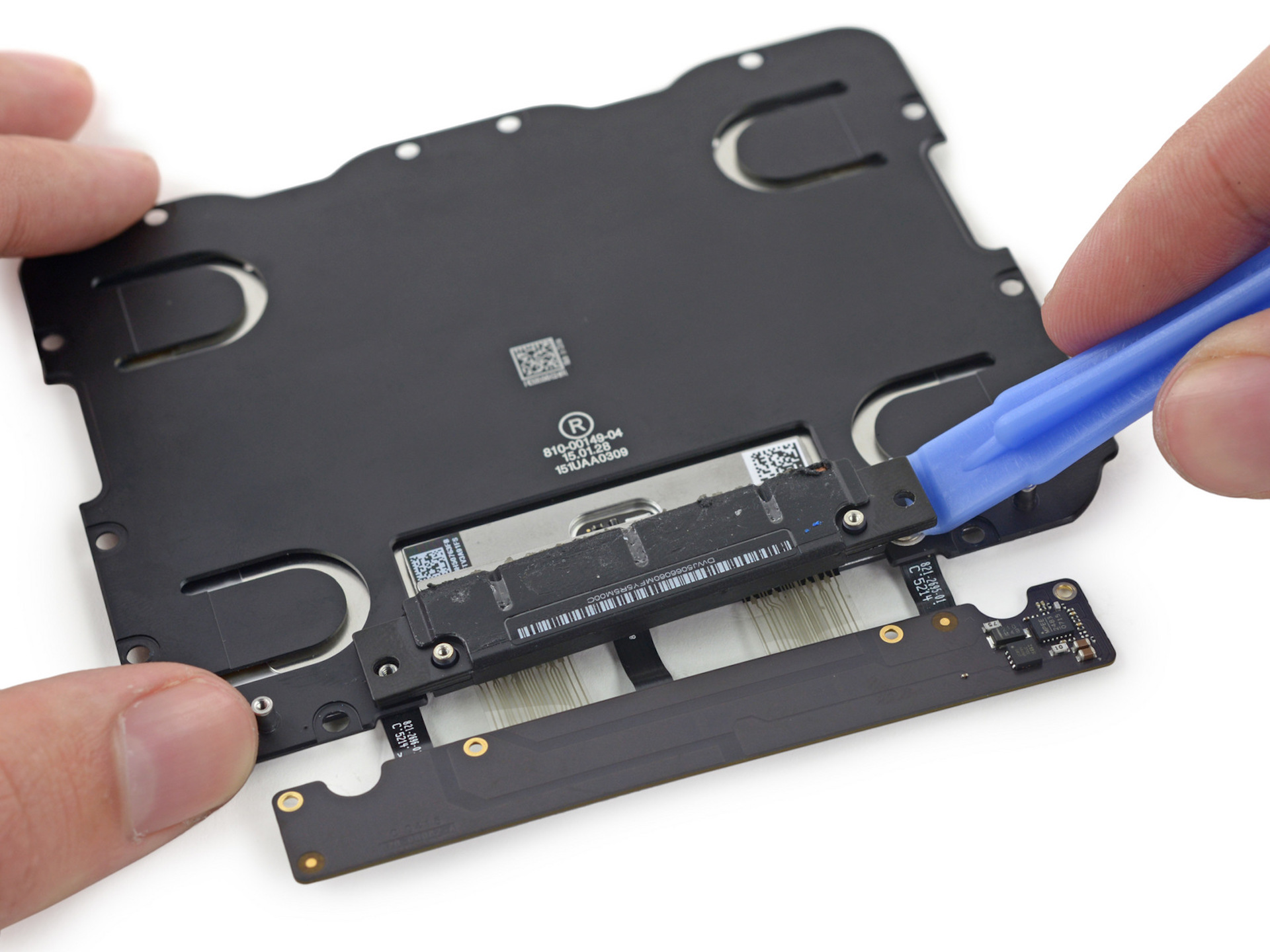 The underside of the new Force Touch trackpad.