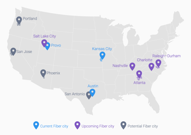 Updated map of Google's fiber plans.
