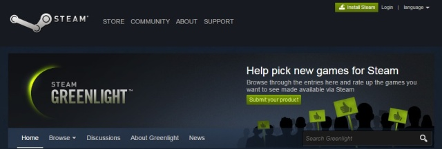 Steam Greenlight as it looked at launch in 2012.