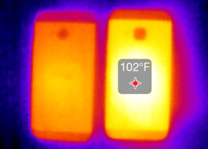 The Seek Thermal Imaging camera for iPhones shows that the M9 (right) runs significantly hotter than the M8 under load.