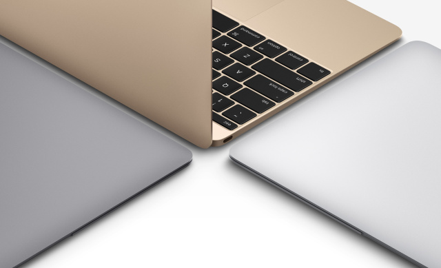 The new MacBook, in gold, space gray, and silver.