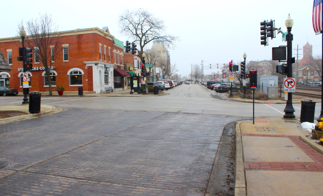 The intersection of Main and Front streets in downtown Wheaton, Illinois.