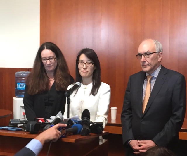 Ellen Pao (center) flanked by lawyers Therese Lawless and Alan Exelrod on Friday.
