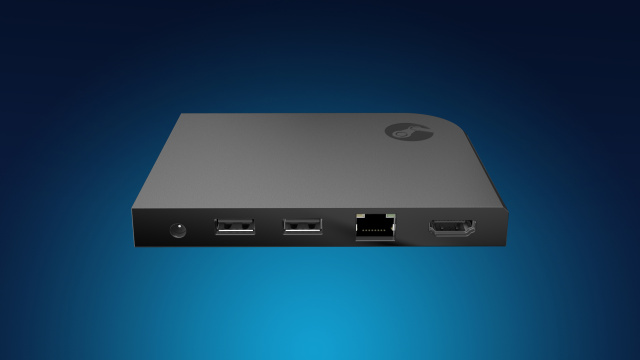 The Steam Link, seen here with two USB ports (there's a third USB port on another side), an AC adapter plug, an Ethernet port, and an HDMI-out connector.