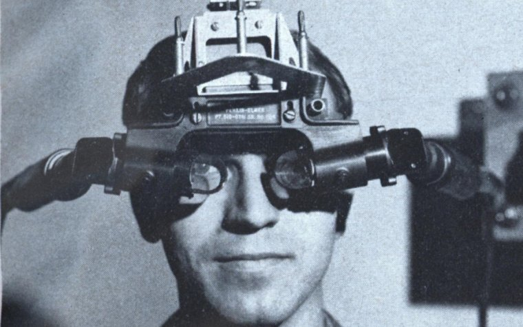 "The ""Sword of Damocles"" head-mounted display, the original augmented reality headset, circa 1968. Augmented reality has gotten a lot more mobile in the past decade."