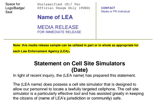 Here's what the FBI's stingray press release template looks like.