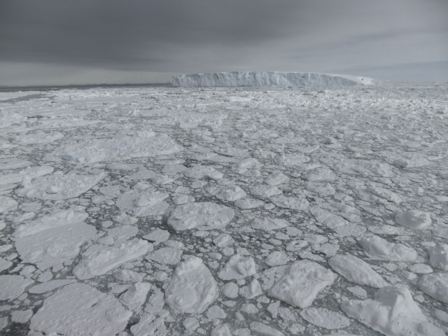 Summer sea ice and a large iceberg near Antarctica's Totten Glacier.