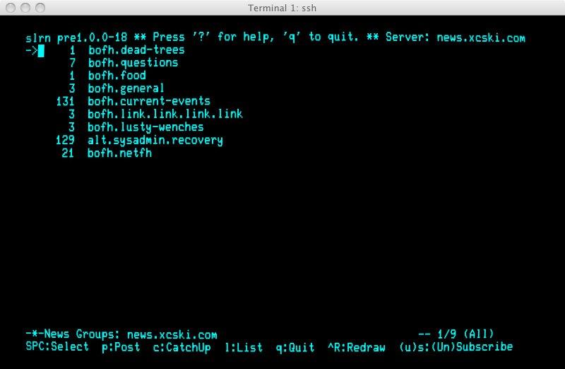 Ah, a delightful Usenet terminal.