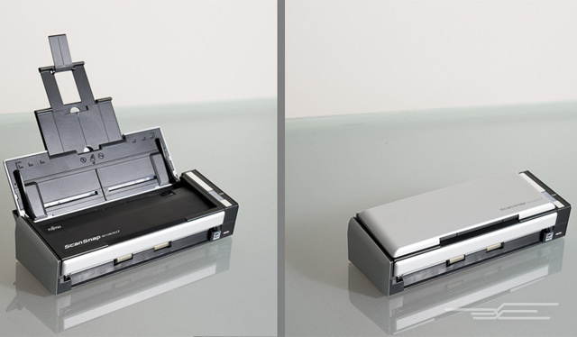 The Fujitsu S1300i, like all portable scanners, extends to support letter-sized sheets but folds down for more compact storage when not in use.