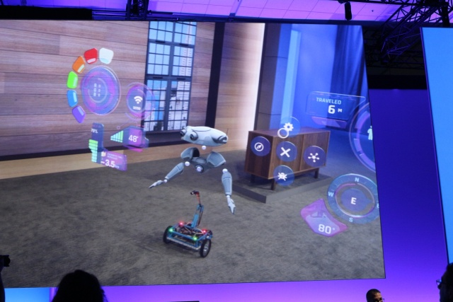 "A demonstration of an ""Internet of Things: interface in HoloLens during today's Microsoft Build keynote."