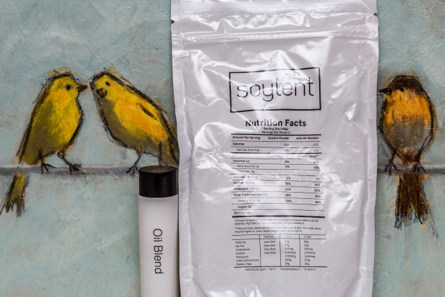 Old Soylent: one bag, three servings, one tube of oil.