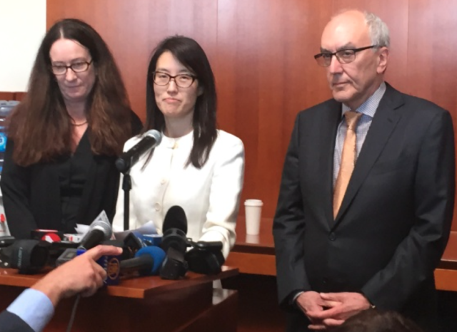 Ellen Pao, center, with lawyers Therese Lawless and Alan Exelrod, addresses the media following her March 27 gender-discrimination trial loss against Kleiner Perkins.
