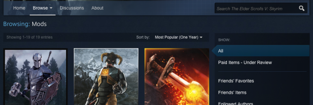 Steam Workshop lets users sell mods, but only shares 25 percent of revenue