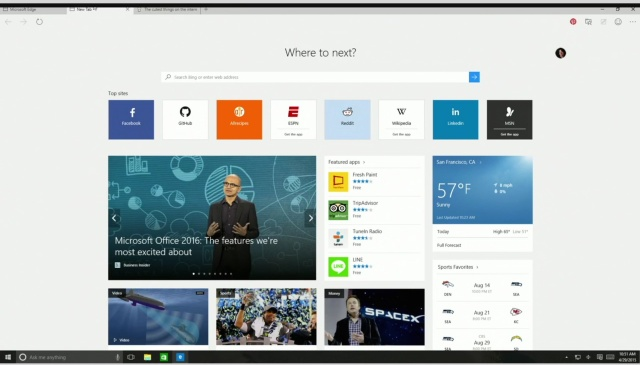 The new New Tab page in Edge.
