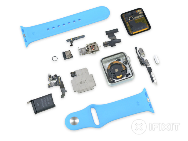 A 38mm Apple Watch Sport exploded.