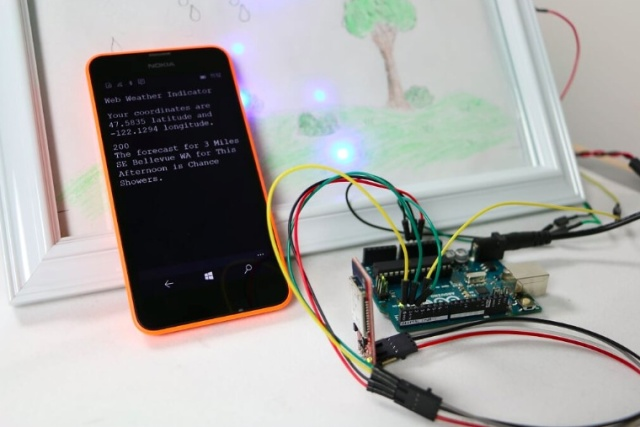 An Arduino connected to a Windows phone.